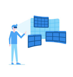 virtual reality tried by man vector image