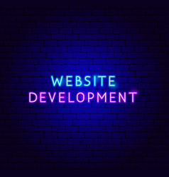 Website development neon text vector