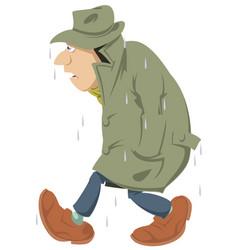 wet man people going in rain stock vector image