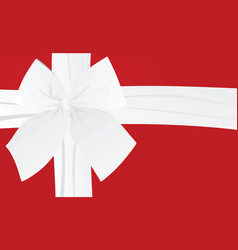 white bow on red background card vector image