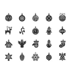 X mas tree decorations silhouette icons set vector