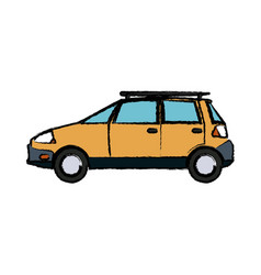 Yellow car vehicle transport ecology concept vector