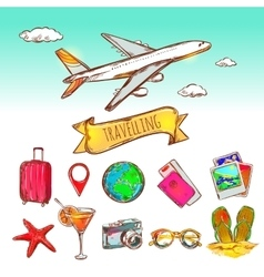 Air Travelling Icon Set vector image