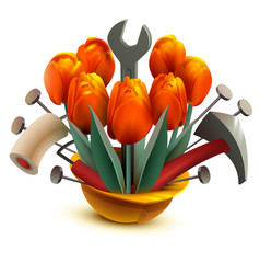 building helmet with flowers and work tools vector image vector image