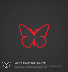 butterfly outline symbol red on dark background vector image vector image