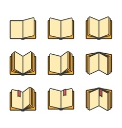 Open books icons set isolated over white vector image