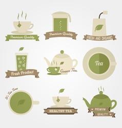 Tea flat and vintage label design vector image