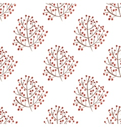 Watercolor seamless pattern with red berry vector image