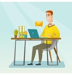 Businessman receiving or sending email vector image