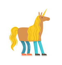 children dressed as a unicorn unicorn costume vector image