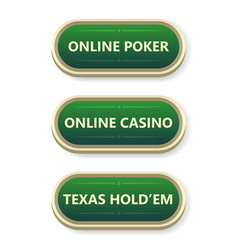 colorful gambling and poker buttons with text vector image vector image