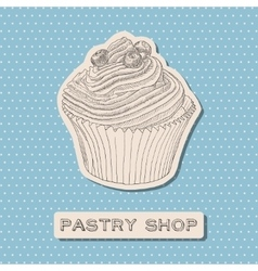 Hand drawn cupcake with berry vector image vector image