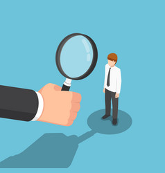 isometric businessman hand with magnifying glass vector image vector image