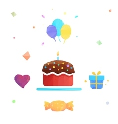 Polygonal birthday cake vector image