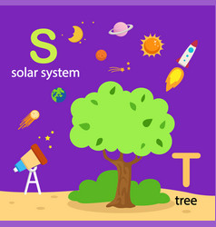 isolated alphabet letter s-solar system t-tree vector image