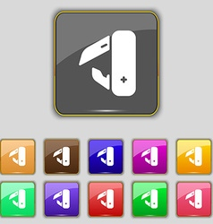knife picnic icon sign Set with eleven colored vector image