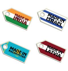 label Made in India Israel Latvia Macedonia vector image