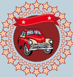 Red vintage car on a gray background with stars vector image
