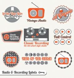 Retro Recording and Radio Labels vector image vector image