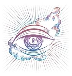 Colorful spiritual eye design vector image vector image