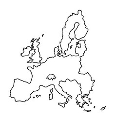 european union map of black contour curves vector image