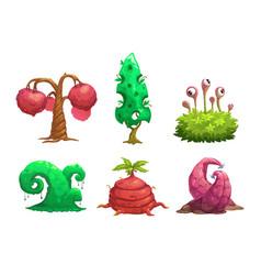 fantasy tree set vector image vector image