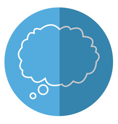outlined cloud bubble speech blue background vector image