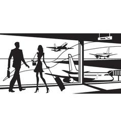 Passengers in airport waiting room vector image