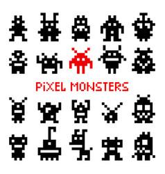 pixel space monsters vector image