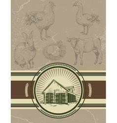 Retro vintage farm background vector