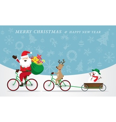 Santa Claus Reindeer Snowman Cycling Bicycles vector image