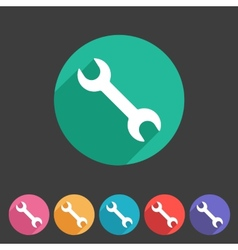 Wrench badge flat icon sign set symbol vector image