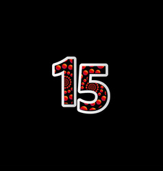15 anniversary celebration bubble red number vector