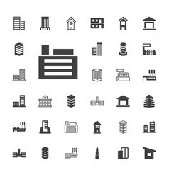 33 buildings icons vector