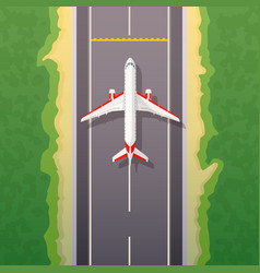 Airplane on road landing travel vector