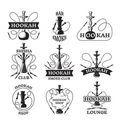 And labels set of different hookahs vector