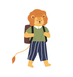 animalistic childish character or lion cub going vector image