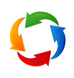 arrows recycling colorful logo vector image