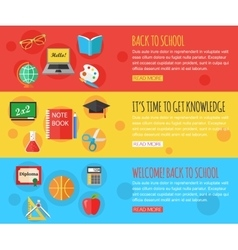 Back to school and education horizontal banners vector image