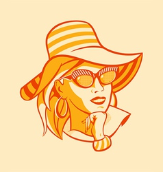 Beach retro woman vector image