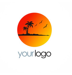 Beach sunset palm tree logo vector