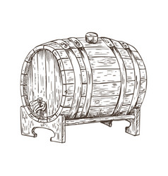 beer barrel vintage keg sketch vector image