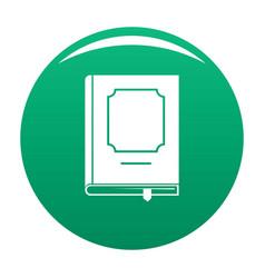 book design icon green vector image