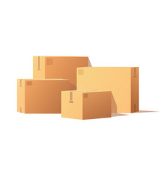 Boxes with adhesive tape rectangular square items vector