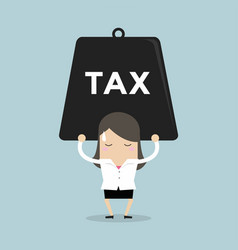 businesswoman carrying heavy tax vector image