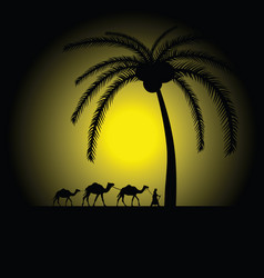 Camel caravan under palm vector