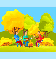 campfire outdoor happy young friends at camp or vector image