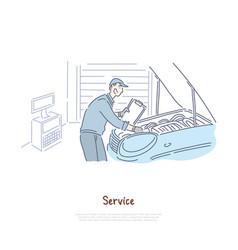 Car repair shop repairman service handyman vector