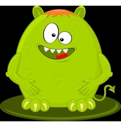 Cartoon Of Funny Green Monster Alien vector image