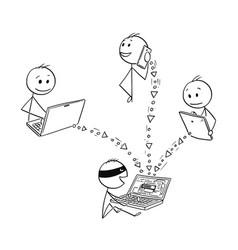 Cartoon of hacker stealing data hacking computer vector